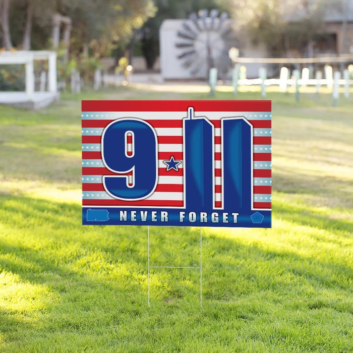 Never Forget The Fallen Yard Sign (24 x 18 inches) - GIFTCUSTOM