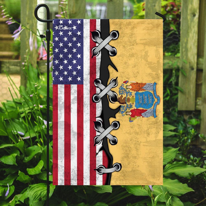 New Jersey And American Flag | Garden Flag | Double Sided House Flag - GIFTCUSTOM