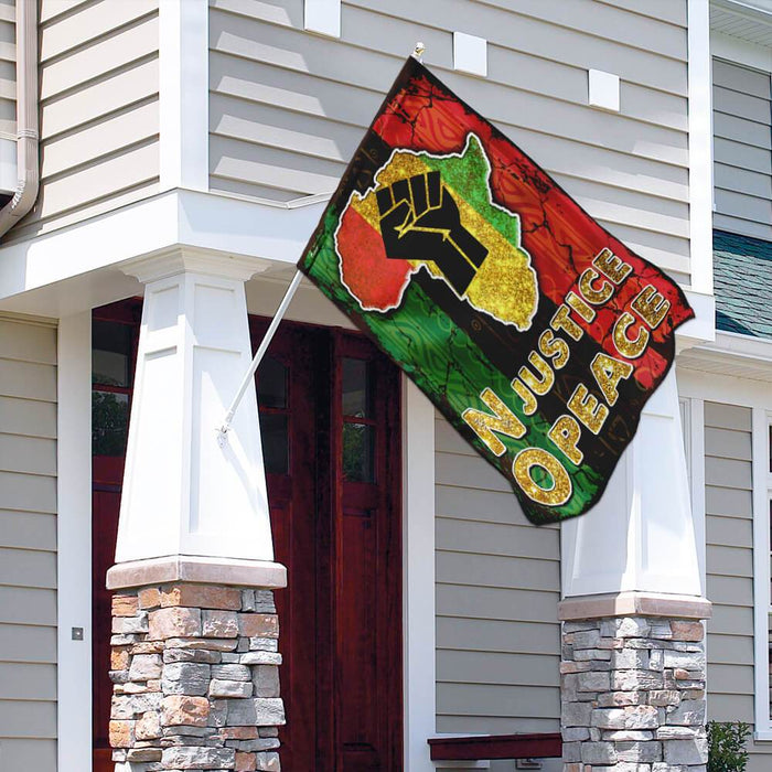 No Justice No Peace Africa Flag | Garden Flag | Double Sided House Flag - GIFTCUSTOM
