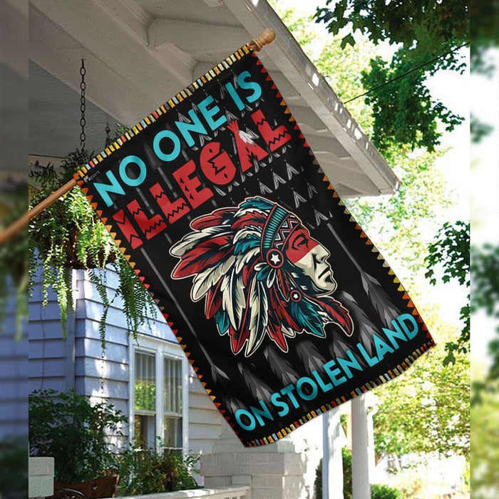 No One Is Illegal On Stolen Land Flag | Garden Flag | Double Sided House Flag - GIFTCUSTOM