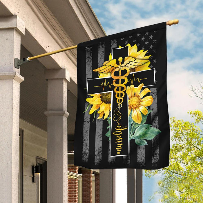 Nurse Life Sunflower Christian Cross Flag | Garden Flag | Double Sided House Flag - GIFTCUSTOM