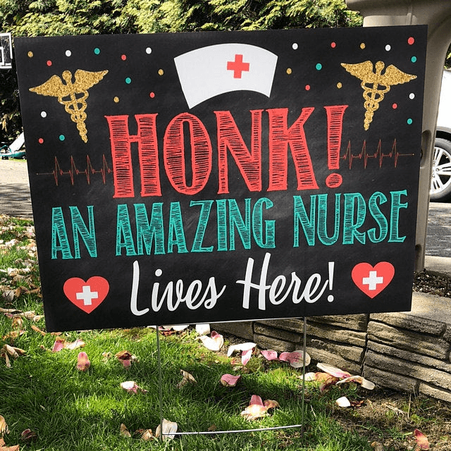 Nurse Yard Sign (24 x 18 inches), National Nurses Week Gift, Nurse Appreciation Week 2020 Honk Frontline Worker Nurse Lives Here - GIFTCUSTOM