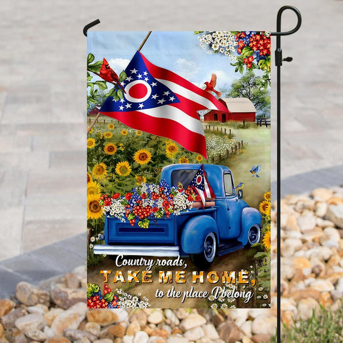 Ohio Country Roads Flag | Garden Flag | Double Sided House Flag - GIFTCUSTOM