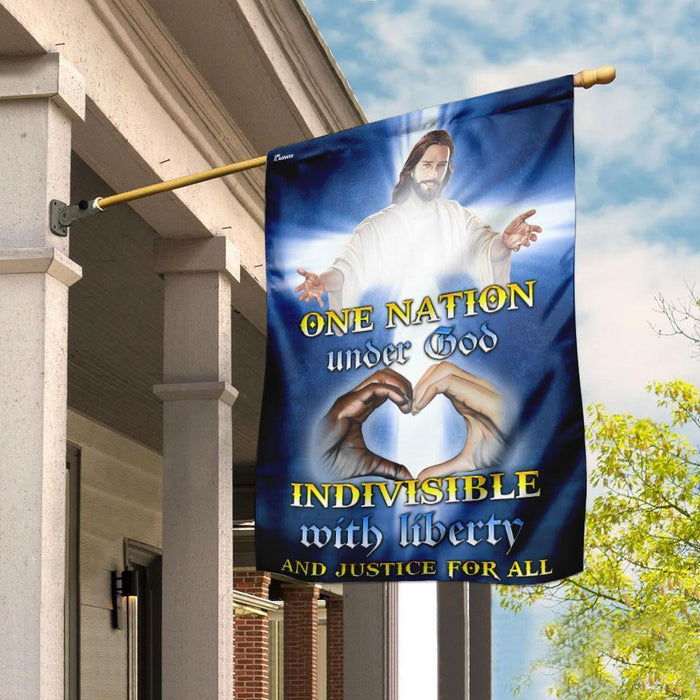One Nation Under God Indivisible With Liberty And Justice For All Jesus Christ Flag - GIFTCUSTOM