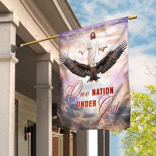 One Nation Under God Jesus Christian American Flag | Garden Flag | Double Sided House Flag - GIFTCUSTOM