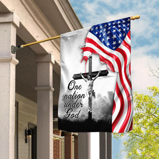 One Nation Under God. Jesus Christian Cross American Flag | Garden Flag | Double Sided House Flag - GIFTCUSTOM