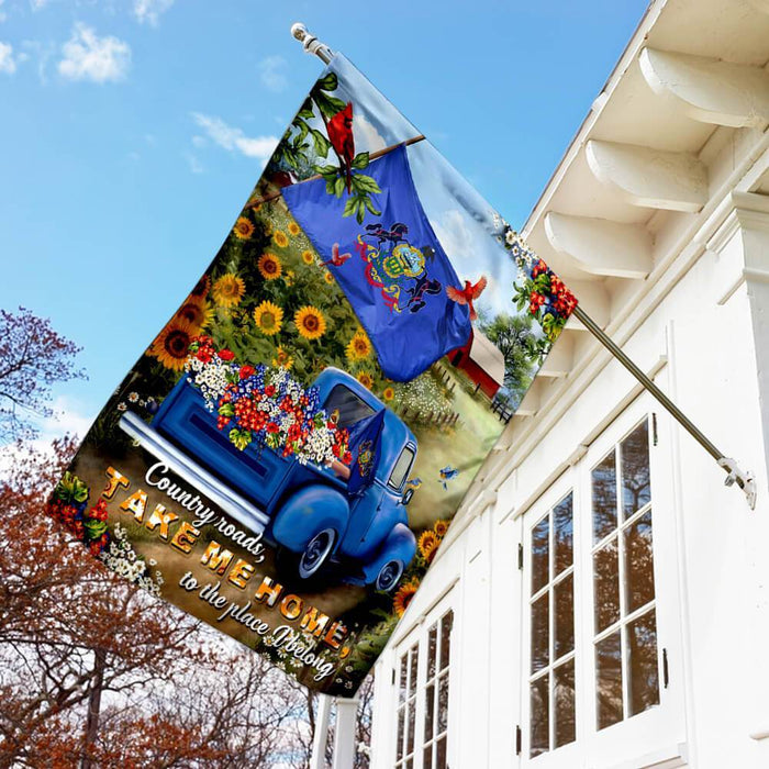 Pennsylvania Country Roads Flag | Garden Flag | Double Sided House Flag - GIFTCUSTOM