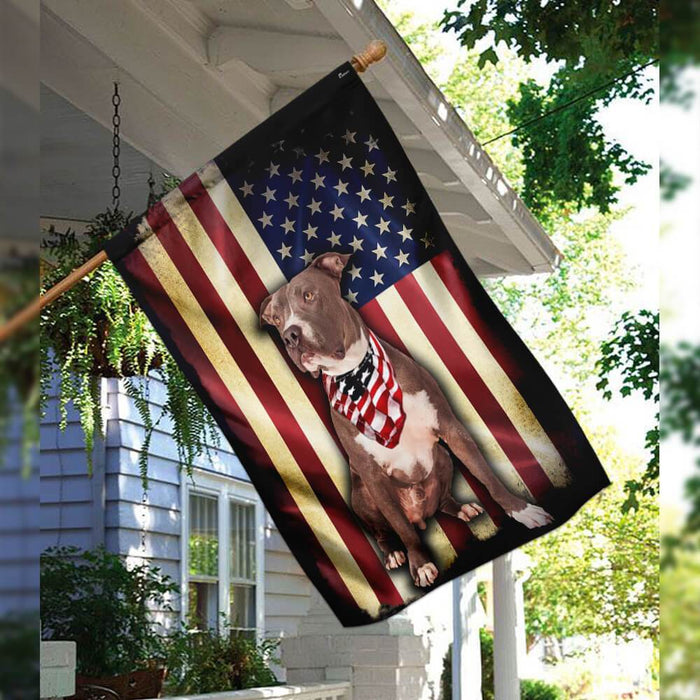 Pit bull American Flag | Garden Flag | Double Sided House Flag - GIFTCUSTOM