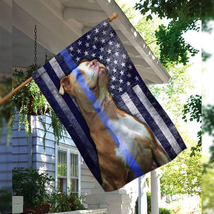 Pit Bull Police Dog The Thin Blue Line America Flag | Garden Flag | Double Sided House Flag - GIFTCUSTOM