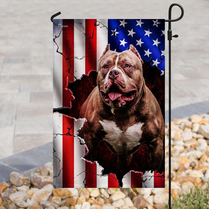 Pitbull American Flag | Garden Flag | Double Sided House Flag - GIFTCUSTOM