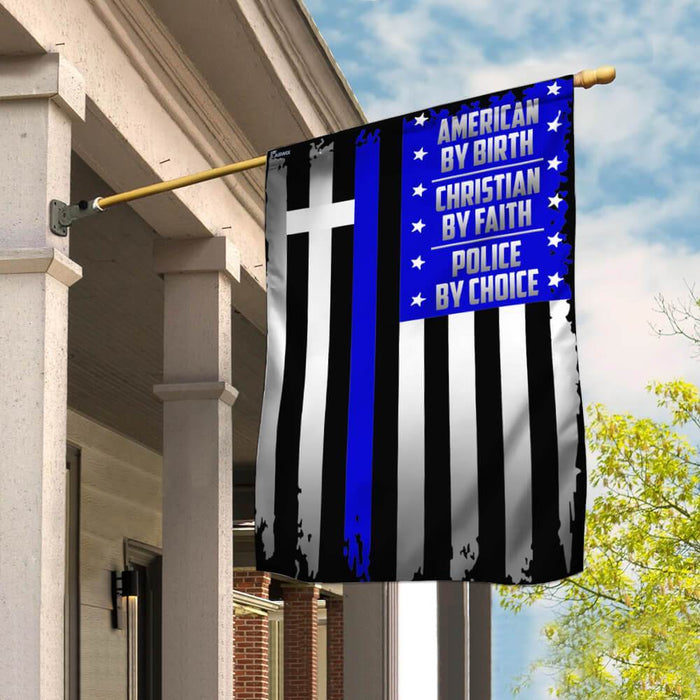 Police By Choice The Thin Blue Line Flag | Garden Flag | Double Sided House Flag - GIFTCUSTOM