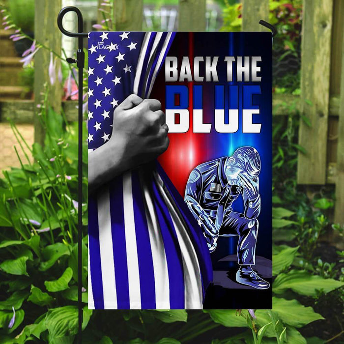 Police Law Enforcement Back The Blue Flag | Garden Flag | Double Sided House Flag - GIFTCUSTOM