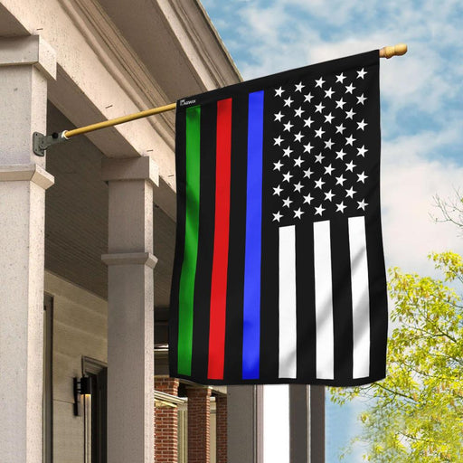 Police Military and Fire Thin Line American Flag | Garden Flag | Double Sided House Flag - GIFTCUSTOM