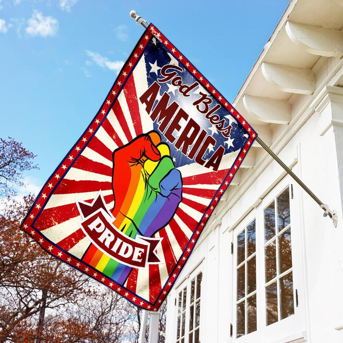 Pride LGBT Amrican US Flag | Garden Flag | Double Sided House Flag - GIFTCUSTOM