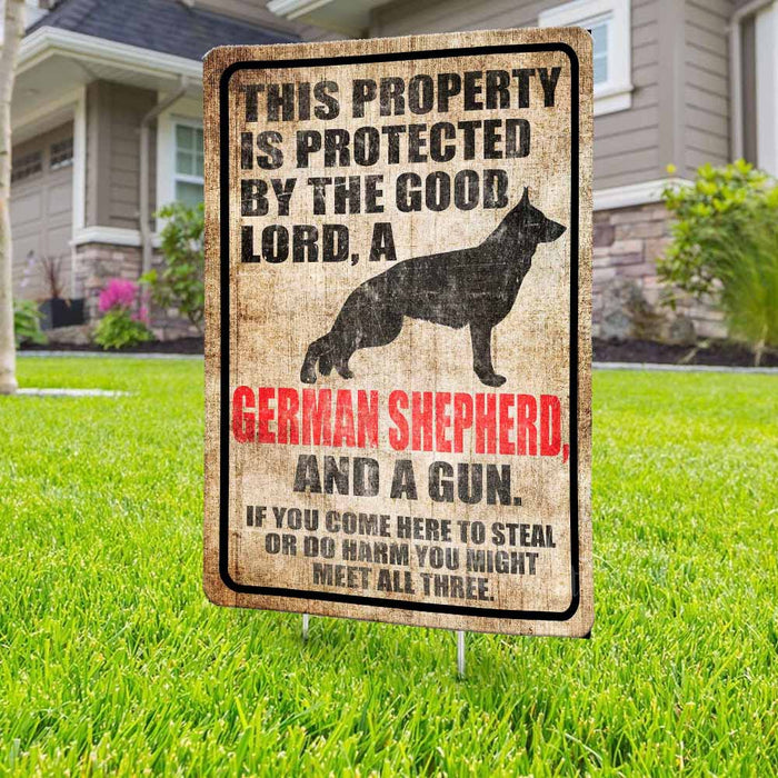 Protected By The Good Lord, A German Shepherd And A Gun Yard Sign (24 x 18 inches) - GIFTCUSTOM