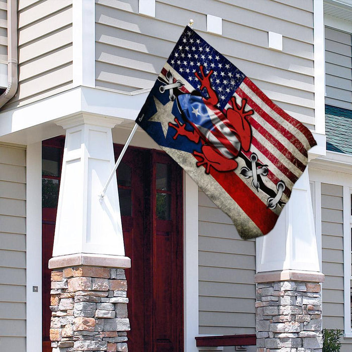 Puerto Rico American Flag | Garden Flag | Double Sided House Flag - GIFTCUSTOM