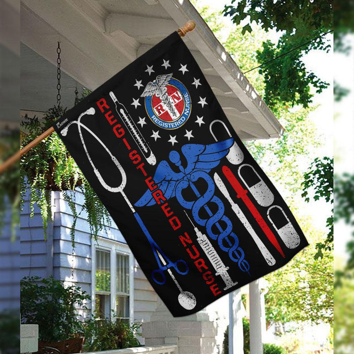 Registered Nurse Flag | Garden Flag | Double Sided House Flag - GIFTCUSTOM