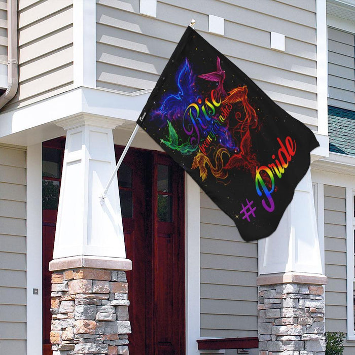 Rise From Your Ashes Phoenix LGBT Flag | Garden Flag | Double Sided House Flag - GIFTCUSTOM