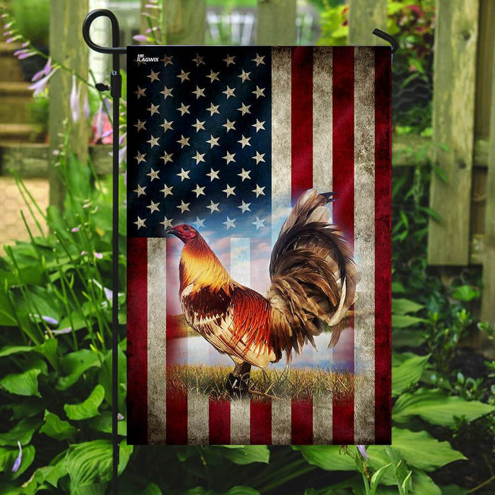 Rooster Amrican US Flag | Garden Flag | Double Sided House Flag - GIFTCUSTOM
