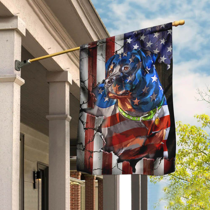 Rottweiler American Flag | Garden Flag | Double Sided House Flag - GIFTCUSTOM
