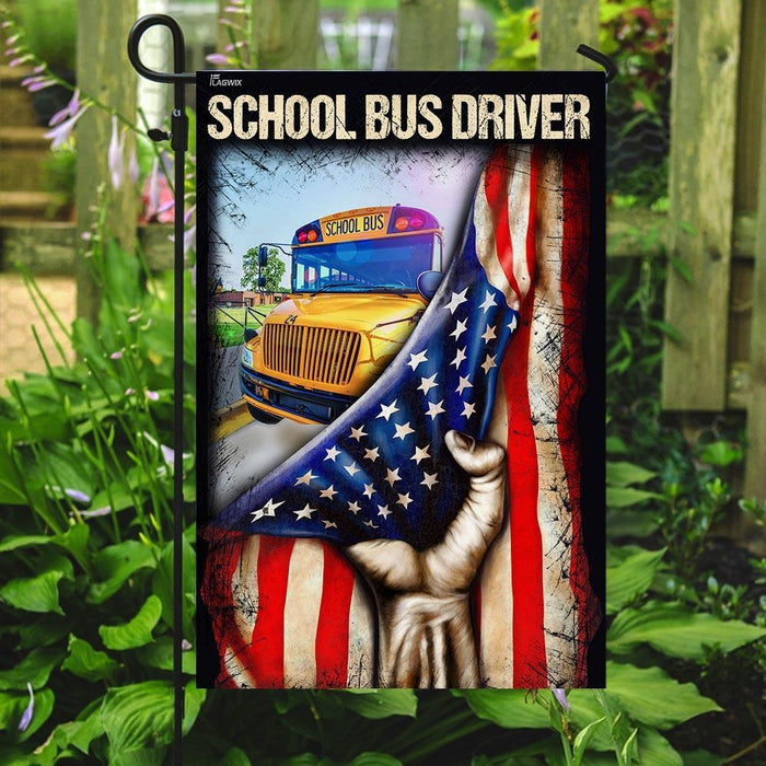 School Bus Driver Flag | Garden Flag | Double Sided House Flag - GIFTCUSTOM
