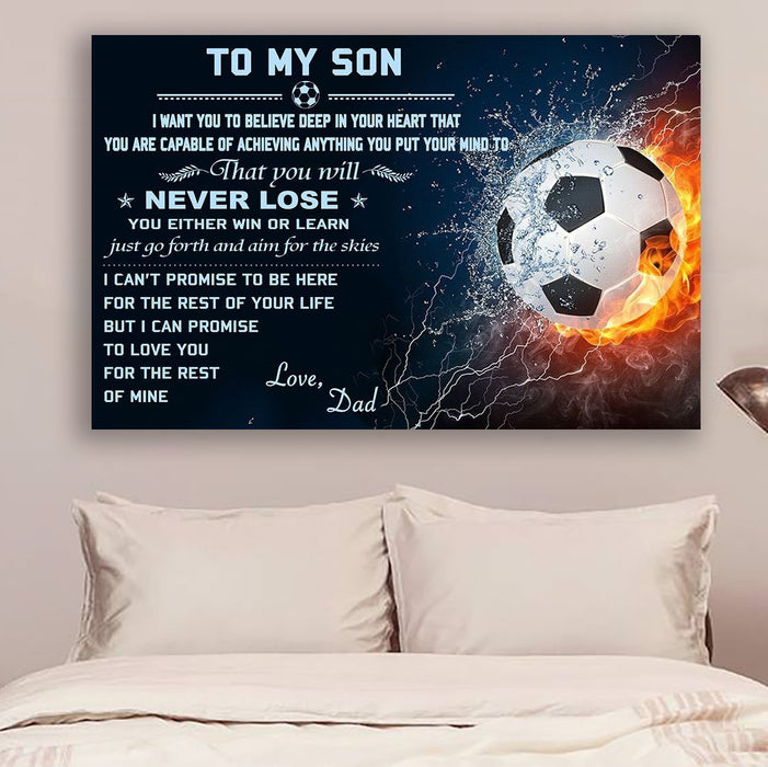 Soccer Canvas and Poster ��� Dad to son ��� never lose wall decor visual art - GIFTCUSTOM