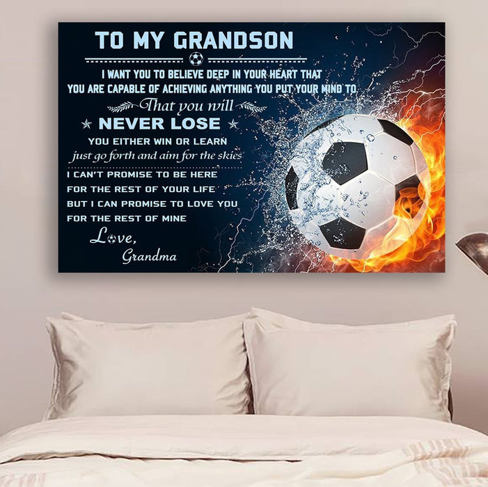 Soccer Canvas and Poster ��� grandma to grandson ��� never lose wall decor visual art - GIFTCUSTOM