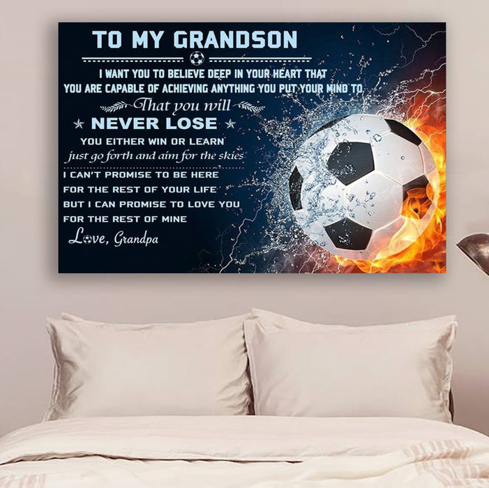 soccer Canvas and Poster ��� grandpa to grandson ��� never lose wall decor visual art - GIFTCUSTOM