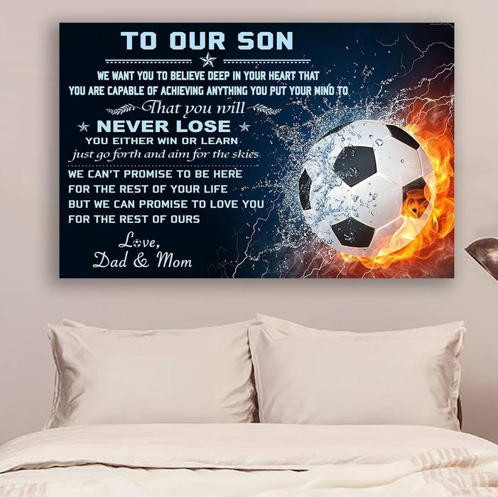 Soccer Canvas and Poster ��� to our son ��� never lose wall decor visual art - GIFTCUSTOM