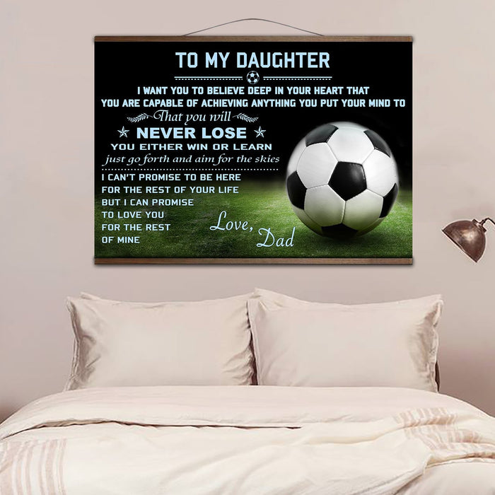 Soccer canvas with the wood frame ��� to my daughter ��� wall decor visual art - GIFTCUSTOM