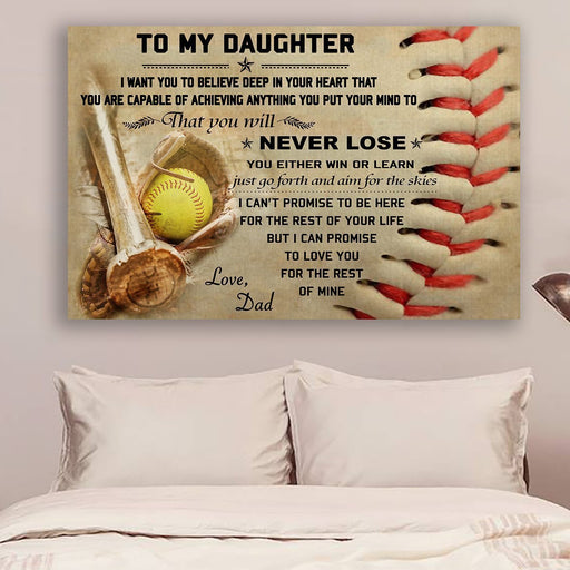 softball Canvas and Poster | dad daughter | never lose | wall decor visual art - GIFTCUSTOM