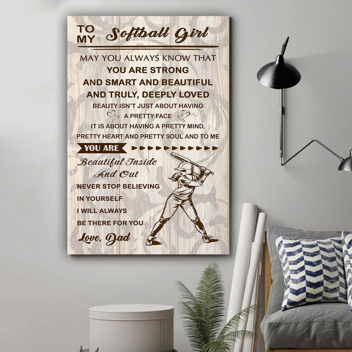 Softball Canvas and Poster ��� Dad to daughter ��� You are strong wall decor visual art - GIFTCUSTOM