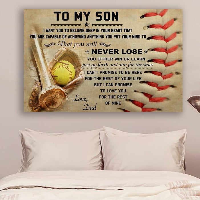 softball Canvas and Poster ��� Dad to Son ��� never lose wall decor visual art - GIFTCUSTOM