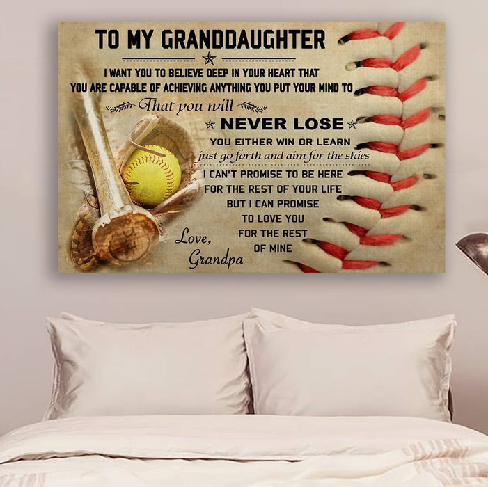 softball Canvas and Poster ��� grandpa to granddaughter ��� never lose wall decor visual art - GIFTCUSTOM
