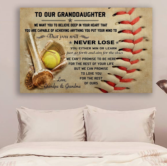 softball Canvas and Poster ��� to our granddaughter ��� never lose wall decor visual art - GIFTCUSTOM