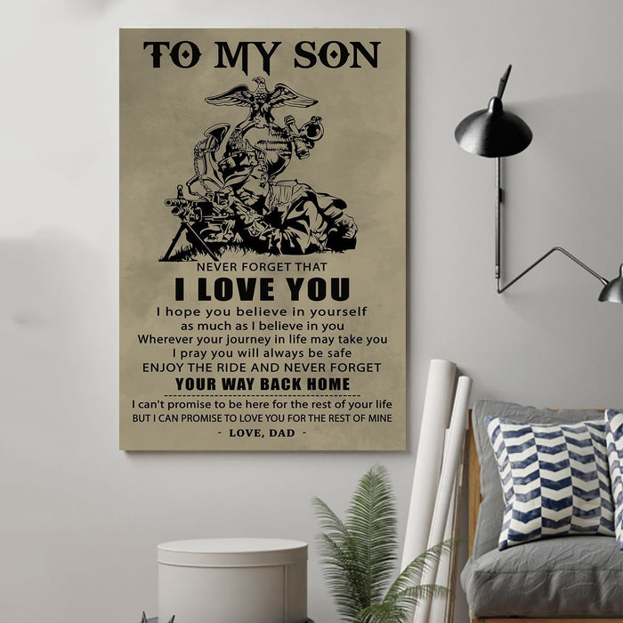 Soldier Canvas and Poster ��� Dad to son ��� Your way back home wall decor visual art - GIFTCUSTOM