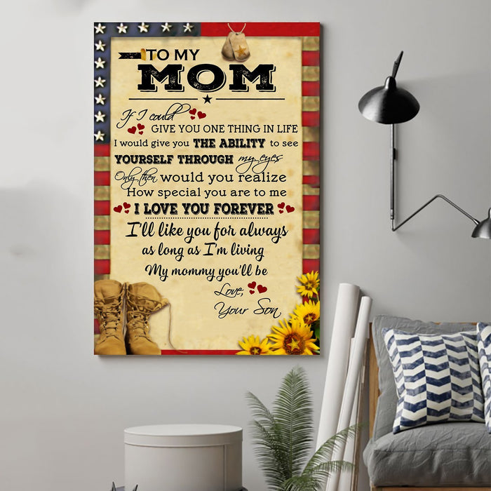 Soldier Canvas and Poster Son to Mom If I could give you one thing wall decor visual art - GIFTCUSTOM