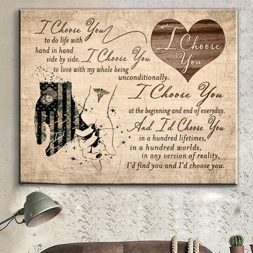 Soldier Love Nurse Couple Canvas soldier husband, nurse wife, gift for wife, gift for husband, anniversary gift - GIFTCUSTOM