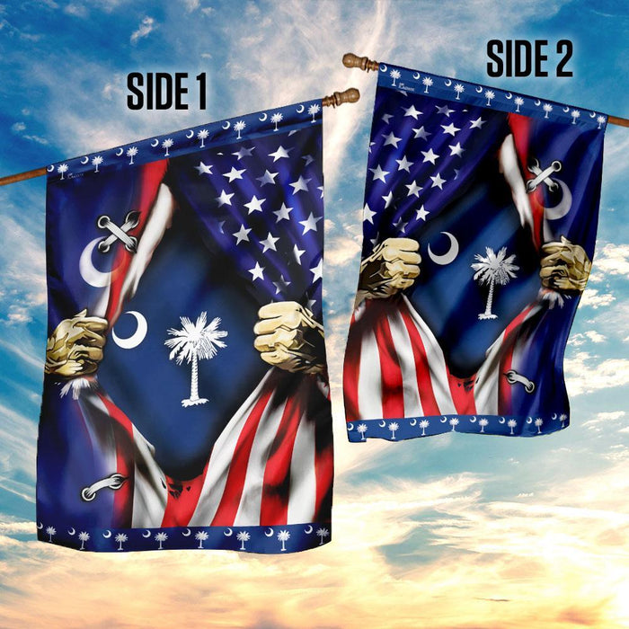 South Carolina And American Flag | Garden Flag | Double Sided House Flag - GIFTCUSTOM