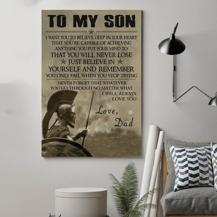 Spartan Canvas and Poster ��� Dad to Son ��� Just believe in wall decor visual art - GIFTCUSTOM