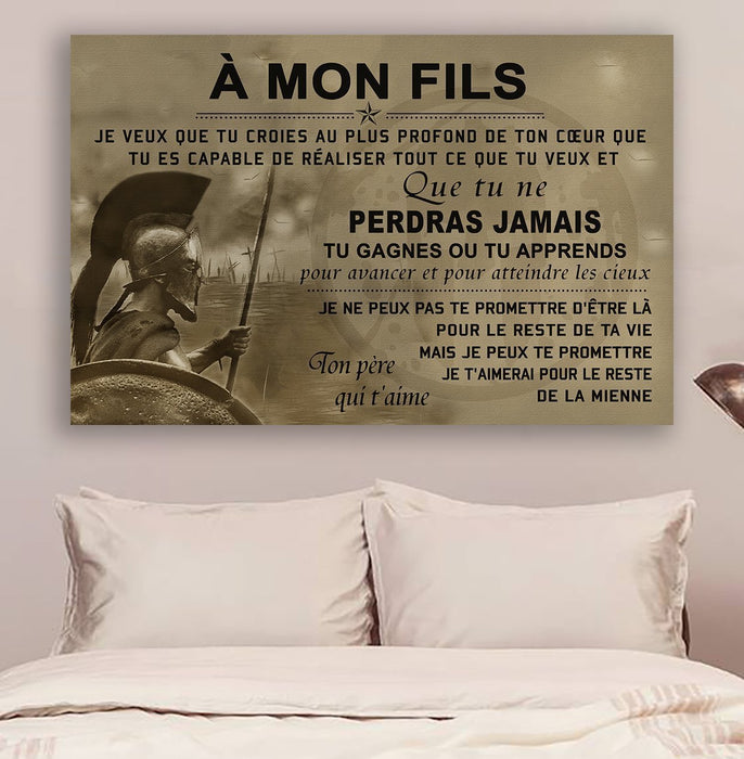 Spartan Canvas and Poster ��� Dad to son ��� Never lose Fre wall decor visual art - GIFTCUSTOM