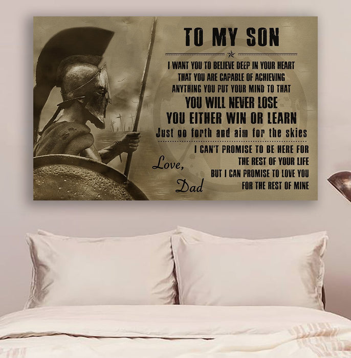 Spartan Canvas and Poster ��� Dad to son ��� Never lose v2 wall decor visual art - GIFTCUSTOM