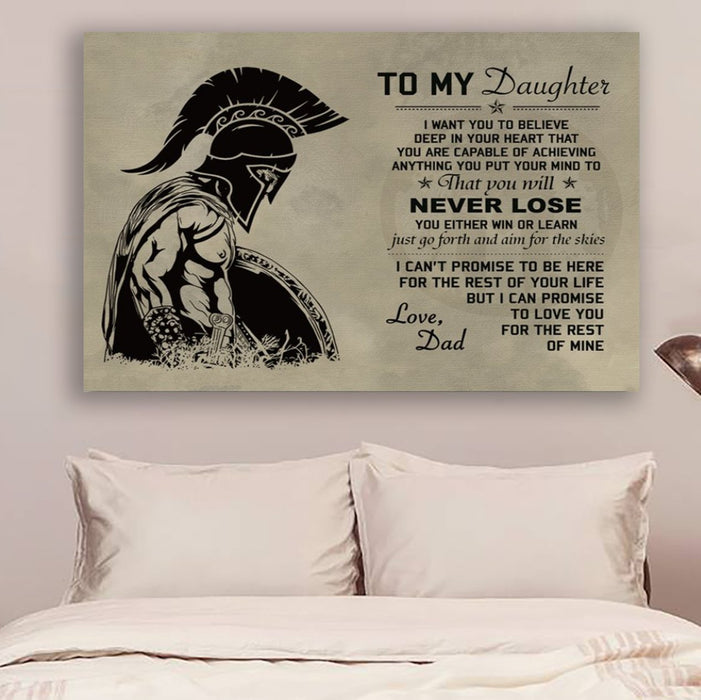 Spartan Canvas and Poster ��� To my Daughter wall decor visual art - GIFTCUSTOM