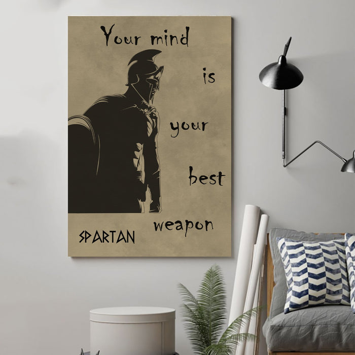 spartan Canvas and Poster ��� your mind is your best weapon wall decor visual art - GIFTCUSTOM