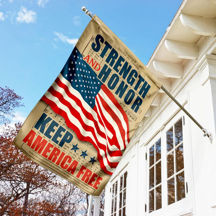 Strength And Honor Keep America Free Flag | Garden Flag | Double Sided House Flag - GIFTCUSTOM