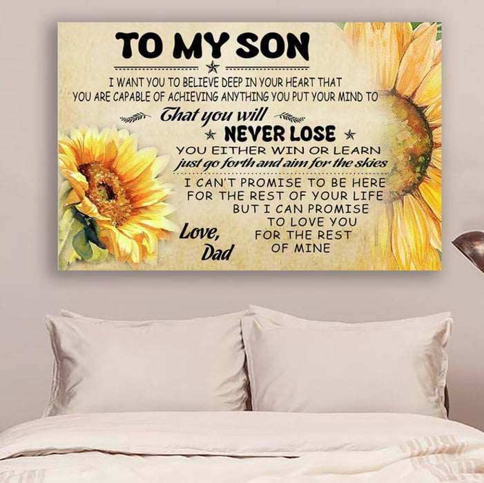 Sunflower Canvas and Poster ��� Dad Son never lose wall decor visual art - GIFTCUSTOM