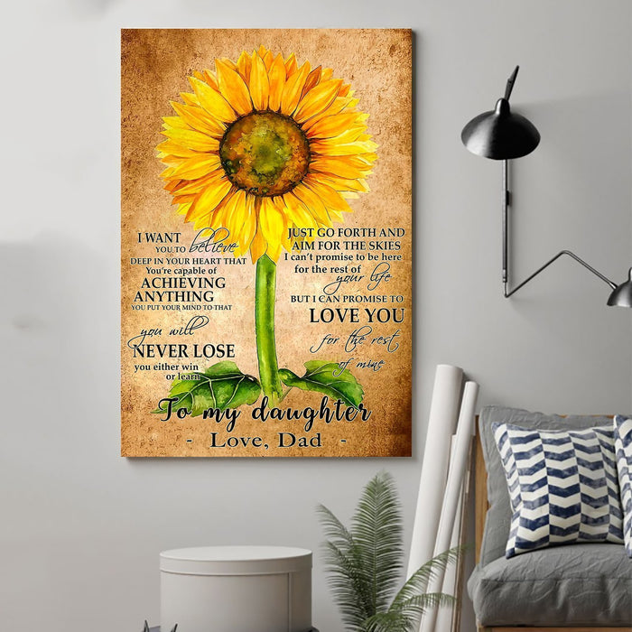 Sunflower Canvas and Poster ��� Dad to daughter ��� never lose wall decor visual art - GIFTCUSTOM