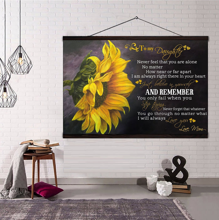 Sunflower Hanging Canvas Mom Daughter Never feel that you are alone wall decor visual art - GIFTCUSTOM