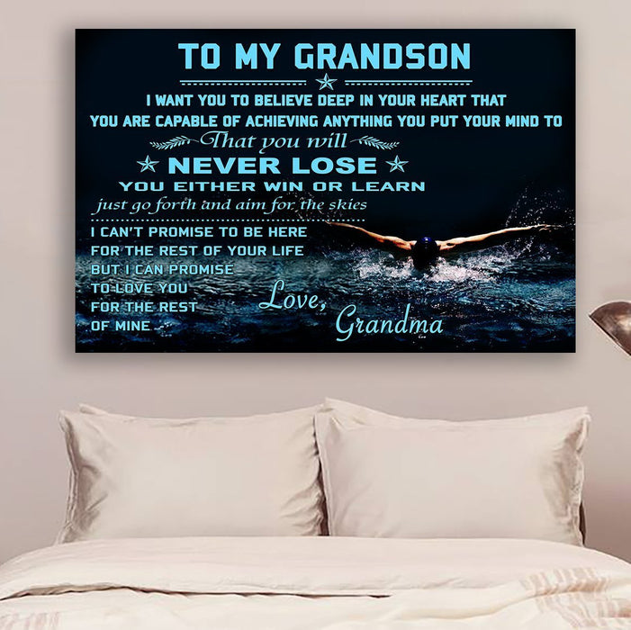 Swimming Canvas and Poster ��� To my grandson ��� Never lose wall decor visual art - GIFTCUSTOM
