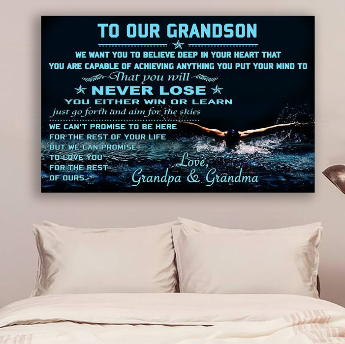 Swimming Canvas and Poster ��� To our grandson ��� Never lose wall decor visual art - GIFTCUSTOM